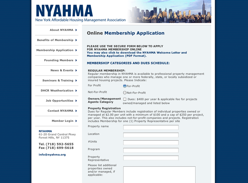 The New York Affordable Housing Management Association (NYAHMA)